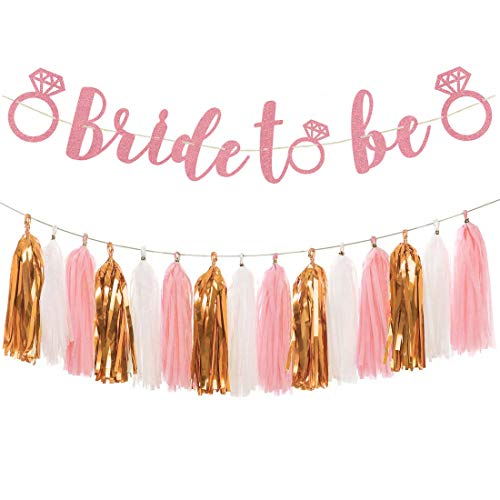 Rose Gold Bachelorette Party Decorations - Glittery Letters BRIDE TO BE Banner, Tissue Paper Tassels Garland Set for Engagement Party Bridal Shower Decorations Supplies