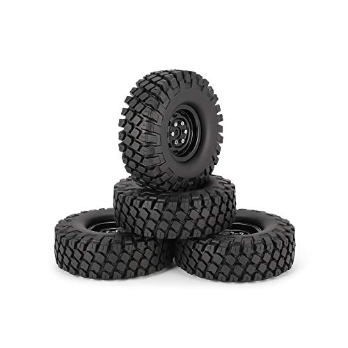 KNOSSOS 4pcs 6020+618BK 1.9in Rubber Tires Metal Wheel Rim for for for Traxxas TRX-4 SCX10 RC4 D90 RC Car Round Pattern Wheel e0d700