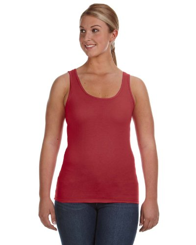 (Anvil Ladies Ringspun Double-Needle Oeko-Tex Tank, INDEPENDENCE RED, Small )