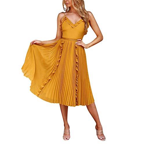 Sunhusing Women's Chiffon Solid Color Spaghetti Sling Ruffled V-Neck Pleated Large Flowy Hem Princess Dress Yellow