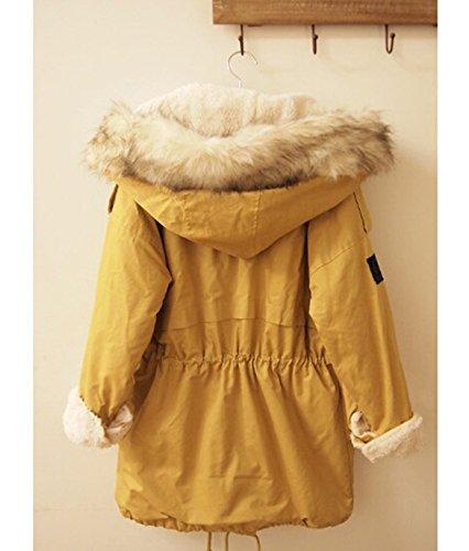 Chaud Militaire Veste Hoodie Jaune Hiver Manteau Longue Femme Jacket avec Capuche a CRAVOG Manche Poche Parka Automne Fourrure wqRgxW6v