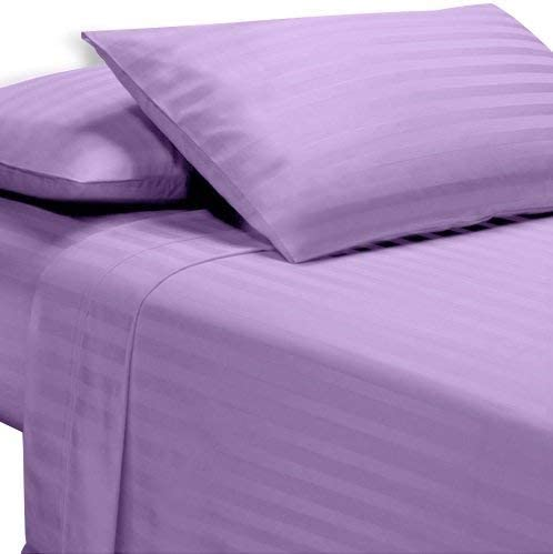 US Bedding Collection 1000 TC Soft Egyptian Cotton All US Sizes Purple Stripe