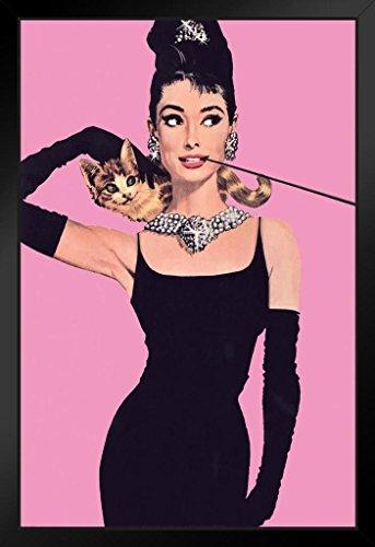 Pyramid America Audrey Hepburn Breakfast Tiffanys Pink Framed Poster 14x20 inch ()