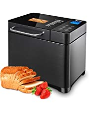 KBS 17-in-1 Bread Maker with Dual Heaters, 2LB Compact Programmable Bread Machine with Gluten Free, Dough, Fruit/Nut Dispenser, Ceramic Non Stick Pan&Touch Dispaly, 3 Crust Colors, Brushed Stainless