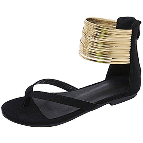 Cheville wealsex Bride 41 Pied Chaussure 42 Plage 40 Noir Flip Plate Spartiate Sandales Grande Taille Anneau de Femme 43 Suédé Vacances Flop Eté AfqwPxA