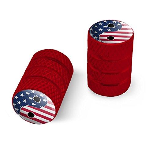 オートバイ自転車バイクタイヤリムホイールアルミバルブステムキャップ - 赤アメリカの愛国心と羊のアメリカの旗