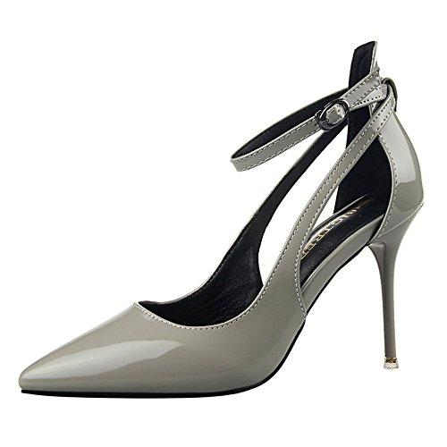z&dw Elegantes tacones altos sencillos con una boca poco profunda con zapatos huecos puntiagudos Gris
