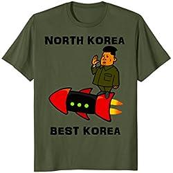 Mens Trump Rocket Man Kim Jong Un North Korea Best Korea Tshirt Large Olive