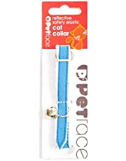 Petface Reflective Stretch Nylon Cat Collar with Bell, Blue