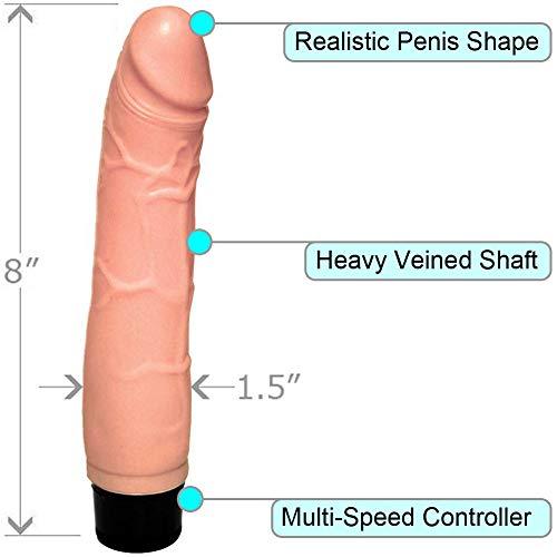 OptiSex Realistic Multi Speed Pleasure Vibrator, 8 Inch, Natural