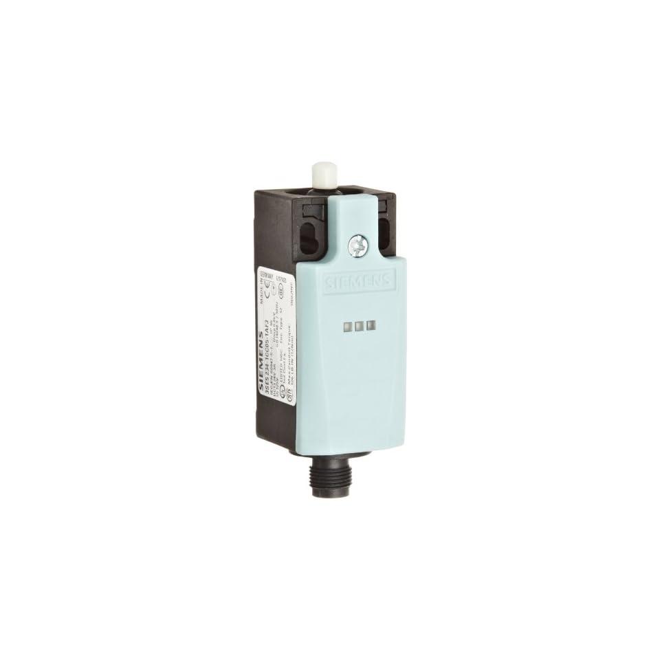 Siemens 3SE5 234 1CC05 1AF3 Mechanical Position Switch, Complete Unit, Plastic Enclosure, 31mm Width, Rounded Plunger, M12 Connector Socket, 5 Pole, 2 LEDs, Snap Action Contacts, 1 NO + 1 NC Contacts, 24VDC LED Voltage
