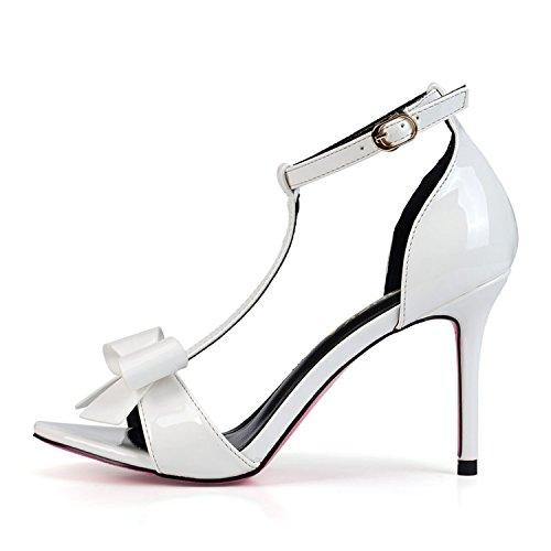 MOOKEY Damen High Heels Sandalen Party Tanzschuhe Rosa Weiß Rot Abendschuhe Glitzer Schleife Bogen High Heels Schuhe Weiß 34 LdlJRdk