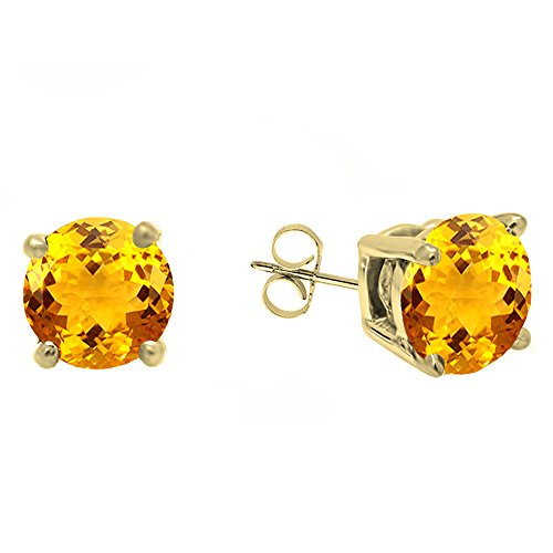 Dazzlingrock Collection 18K 5.5 MM Each Round Citrine Ladies Solitaire Stud Earrings, Yellow ()
