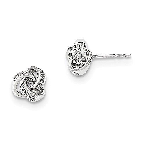 14K White Gold Diamond Knot Post Earrings, Diamond CTW ()