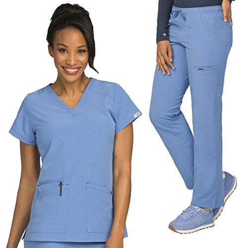 Med Couture Air Sky High V-Neck Top & Cloud 9 Drawstring Pant Scrub Set by Med Couture