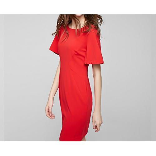 WLG Unsichtbares Pull-5-Viertel-Ärmel Kurzes Gerades Kleid im Großen Rundhalsausschnitt