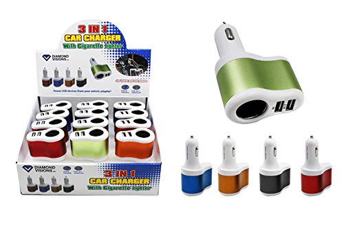 Dollar Item Direct Dual USB Car Charger with DC Outlet (2 Amp), Case of 96