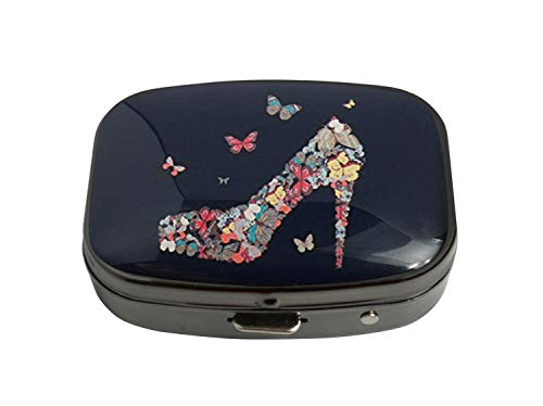 PTCRMG Image Custom Unique Pill Box Case Tablet Medicine Pocket Purse Travel Pill Vitamin Decorative Box Case Holder (Butterfly High-Heel Shoe)