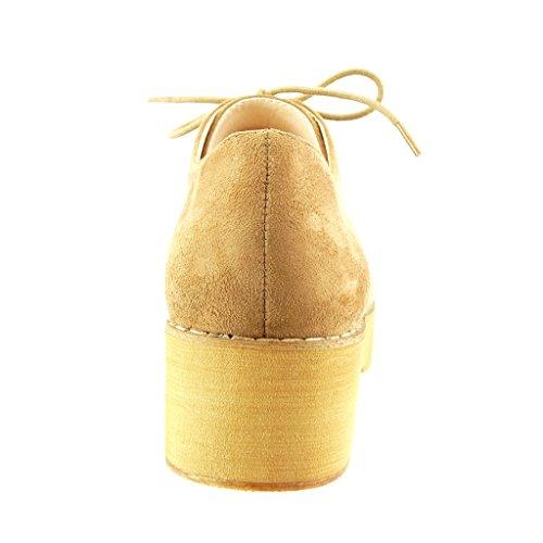 Angkorly - Chaussure Mode Derbies plateforme femme finition surpiqûres coutures Talon bloc 5 CM - Camel