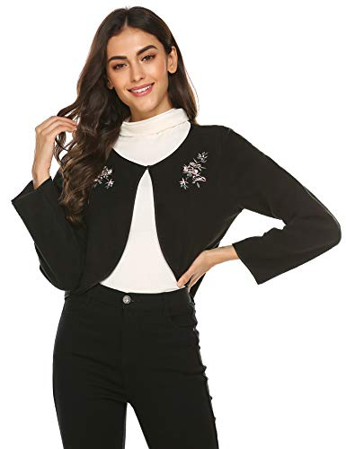 Ekouaer Basic Solid Long Sleeve Bed Jacket Open Front Cardigan Soft Robe Nightwear (Black, Small)