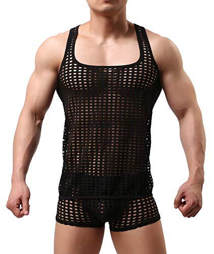 Mendove Men's Mesh See Through Muscle Fishnet Tank Top Underwear Size Medium Black