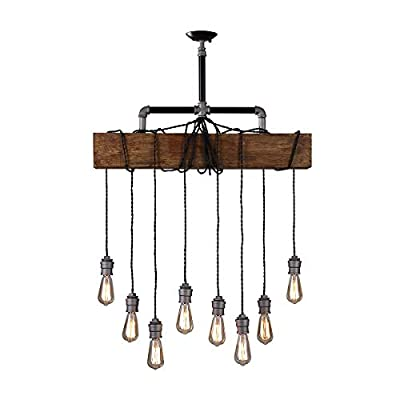 Jiuzhuo Industrial Rustic Wood Beam Linear Island Pendant Light 8-Light Chandelier Lighting Hanging Ceiling Fixture