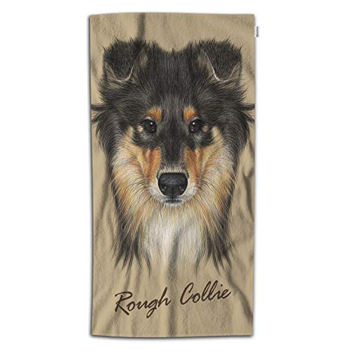 Moslion Dog Bath Towel Cute Collie Face of Mahogany Sable Rough Collie Or Shetland Sheepdog Towel Soft Microfiber Baby Hand Beach Towel for Kids Bathroom 32x64 Inch Brown