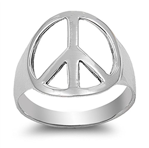 - Sterling Silver Women's Cutout Peace Sign Ring (Sizes 4-15) (Ring Size 7)