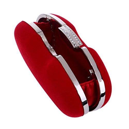 la sposa sera promenade banchetti donna con con per partito strass pochette da 6x9x20cm Borsa nero da del 2x4x8inch sera cristallo nuziale Per Borsa per della di Rosso in borsa zHnH7xS6