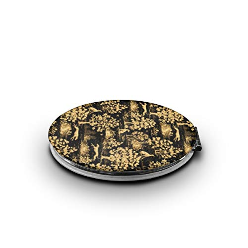 Makeup Mirror Black Harvest Greyhound Printing 1x/7x Magnification Folding Compact Pocket Mirror For Beauty, Cosmetic And ()