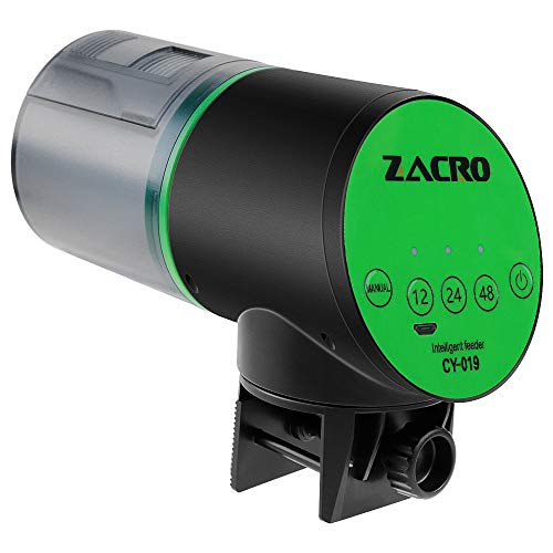 Zacro Automatic Fish Feeder - USB Rechargeable Timer Fish Feeder for Aquarium or Fish Tank,Vacation & Weekend Fish Food Dispenser