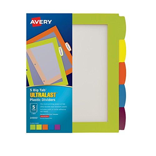 - Avery Ultralast Big Tab Plastic Dividers, 5 Tabs, 1 Set, Multicolor (24900)