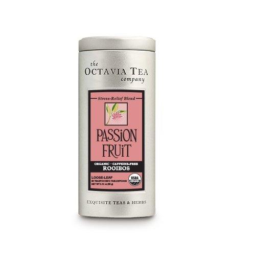 Octavia Tea Passion Fruit (Organic, Fair Trade Certified, Caffeine-Free Red Tea/Rooibos) Loose Tea, 2.82 Ounce Tin