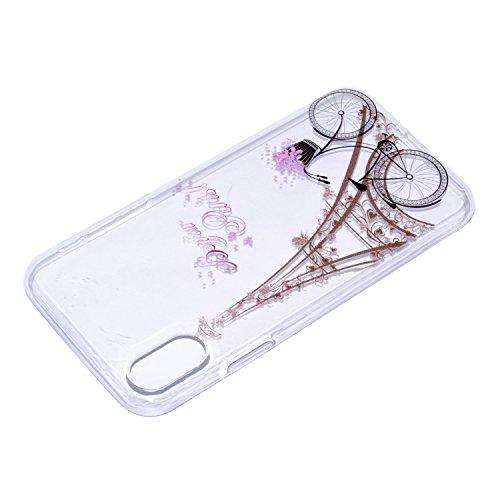 iPhone X Hülle , Leiai Modisch Turm TPU Transparent Clear Weich Tasche Schutzhülle Silikon Handyhülle Stoßdämpfende Schale Fall Case Shell für Apple iPhone X