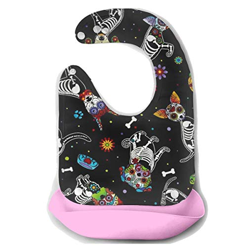 ROCKSKY Day of Dead Pups Black Silicone Bibs for Babies, Water Ressistant Drooling & Teething Bib Super Baby Bibs for Girls Boys with Adjustable -