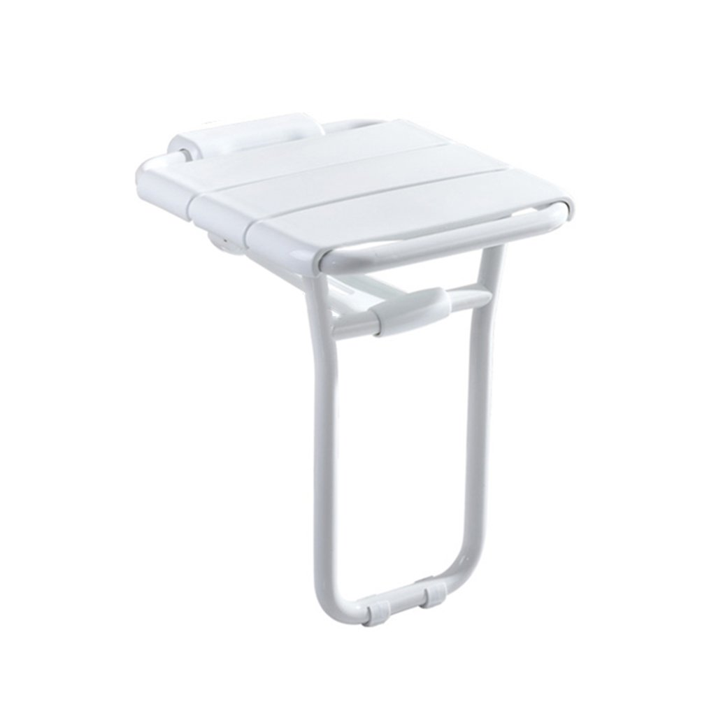 KTYXDE Foldable Wall-Mounted Shower Stool ABS Wall-Mounted Shower Seat Stool Folding Shoe Bench Suitable for The Elderly/Disabled Non-Slip Shower Seat Stool with Leg Stool White Max120 Kg Bathroom c