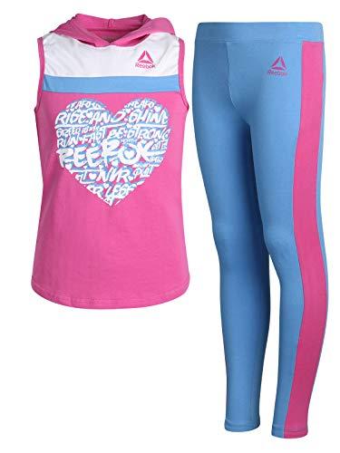(Reebok Girls' 2-Piece Athletic Top and Legging Set, Rose/Blue, Size 7')