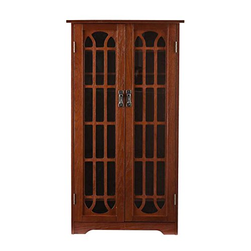 - MS1074T SEI Mission Oak Finish Window-Pane Double-Door Media Cabinet(Holds Approx. 330 Cds Or 92 Vhs Or 166 Dvd)