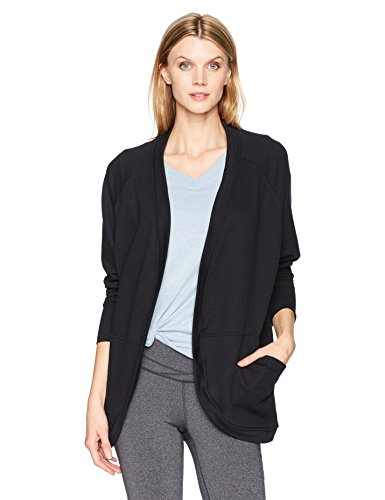 Fruit of the Loom Women's Essentials Cocoon Comfort Wrap, Black, Large (Cocoon Cardigan)
