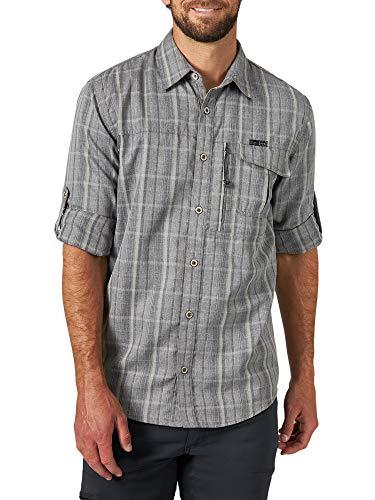 ATG by Wrangler Men's Long Sleve Heathered Plaid Utility Shirt, Quarry Plaid, Large