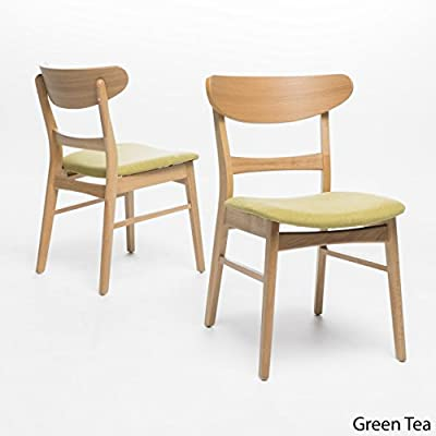 "Christopher Knight Home Idalia Dining Chairs, 2-Pcs Set, Green Tea / Oak Finish - ""Includes: two (2) dining chairs material: fabric Leg material: solid rubberwood color: Green Tea Leg Finish: natural oak assembly required chair dimensions: 21.46 inches deep x 19.69 inches wide x 30.91 inches high Seat length: 17.60 inches Seat width: 16.60 inches Seat Height: 18.00 inches"" Includes: Two (2) Dining Chairs Material: Fabric, Solid Rubberwood 