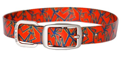 Dublin Dog Koa Collection Shattered 12.5 by 17-Inch Dog Collar, Medium, Magma Orange