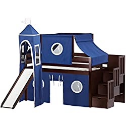 JACKPOT! Castle Low Loft Stairway Bed with Slide Blue & White Tent and Tower, Twin, Cherry