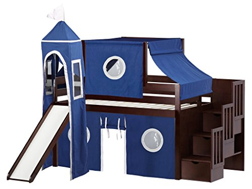 JACKPOT! Castle Low Stairway Blue & White Tent Loft Bed, Twin, ()
