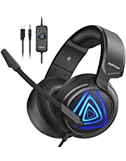 Mpow Gaming PC Headset, 50MM-Treiber/Stereo Bass-Sound xbox one Game Computer Headset mit Mikrofon LED Gaming Headset mit Linie-Steuerung Klinke PC Headset mit Mikrofon für PS4 Nintendo Switch