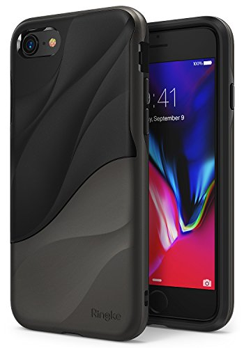 Ringke Wave Compatible with iPhone 8, iPhone 7 Phone Case Dual Layer Heavy Duty Textured Shock Absorbent PC TPU Full-Body Drop Resistant Protection Ergonomic Design Cover - Metallic Chrome