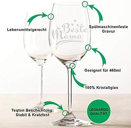 Copa de vino Leonardo con grabado – mejor mamá – Regalo ideal para el día de la madre – Copa de vino blanco – Copa de vino tinto como regalo de cumpleaños para mamá