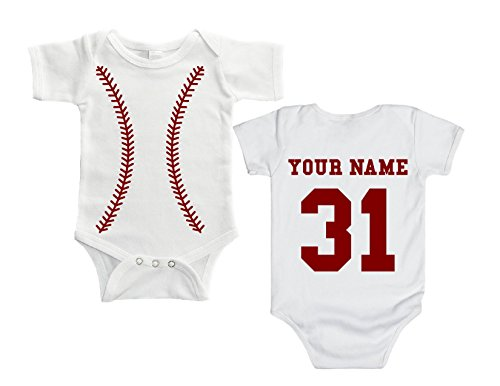Baby Girl Baseball - Sleeping Baby Personalized Baseball Baby Body Suit by (6 Months)