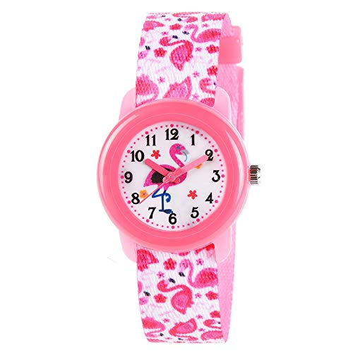 Venhoo Kids Watches Cute Cartoon Waterproof Fabric Strap Children Toddler Wrist Watch Time Teacher Birthday Gift 3-10 Year Girls Little Child-Pink Flamingo -