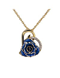 ZJchao 24K Gold Plated Rhinestone Heart Shaped Rose Pendant Necklace for Women